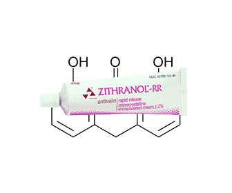 Crema con antralina para la psoriasis, tratamiento tópico